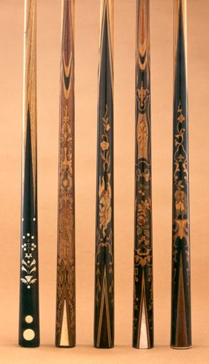Marquetry Billiard or French Cues