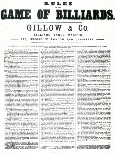 Gillow's of Lancaster Billiard Rules