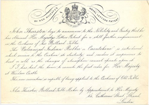 Thurston Announcement Of The Patent For Rubber Cushions