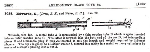 Edwards patent billiard cue