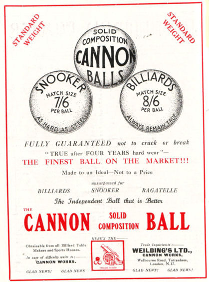 Weilding Billiard Ball advert