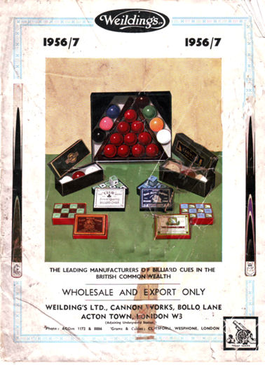 weildings 1956 Billiard Cue Catalogue