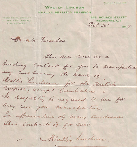 Walter Lindrum Letter re Billiard Cues