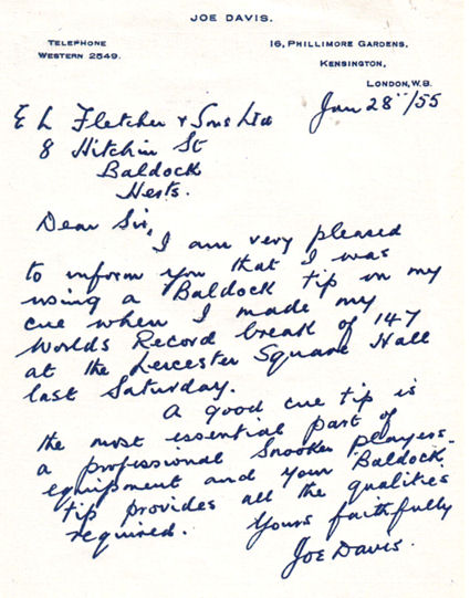 Joe Davis letter to E.L. Fletcher _adj
