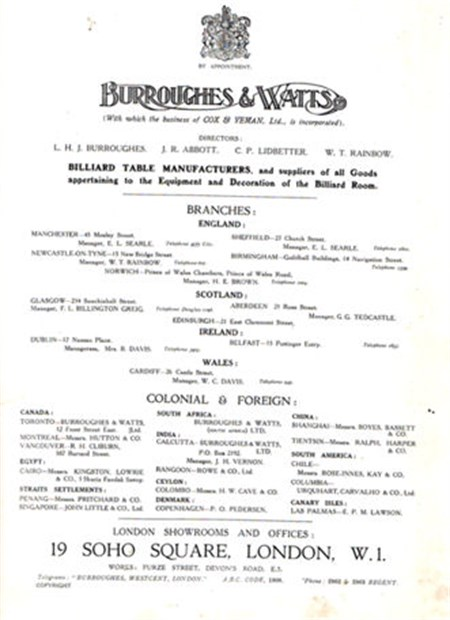 Burroughes & Watts Insidepage 1923